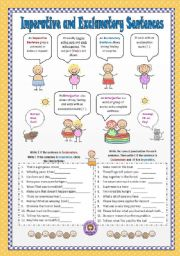 English Worksheet: Imperative and Exclamatory Sentences