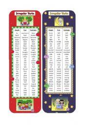 English Worksheet: Irregular Verbs Bookmarks