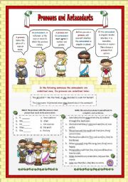 English Worksheets: Pronouns and Antecedents