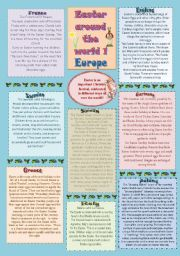 Easter traditions from around the world 1 - Europe (2 pages + key)♥editable♥