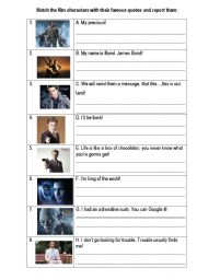 English Worksheets: Reported film quotes