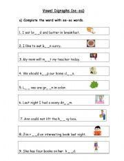 Printables Vowel Digraph Worksheets english teaching worksheets digraphs vowel ee ea