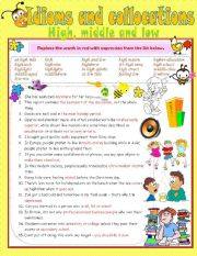 English Worksheet: Idioms & Collocations (High, Middle & Low + Key included)