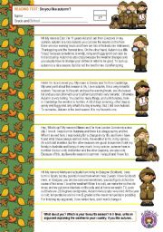 English Worksheet: READING TEST (do you like autumn?)