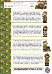 English Worksheets: READING TEST (do you like autumn?)