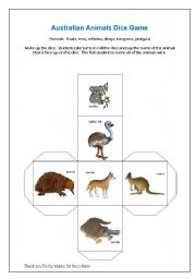English Worksheet: Australian Animals - dice game