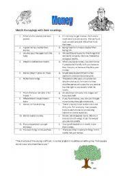 English Worksheet: Money sayings.