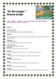 English Worksheets: In the jungle drama school  script