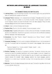 English Worksheet: Methods and Approaches in Language Teaching (Briefly)