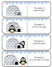 English Worksheet: Where is the Penguin Preposition Dominoes and Memory Cards Part 1 of 2  (With Poster and Poem)