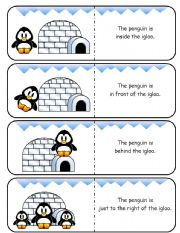English Worksheet: Where is the Penguin Preposition Dominoes and Memory Cards Part 2 of 2 (With Poster and Poem)
