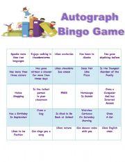 autograph bingo game esl worksheet by madeleine23