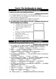 English Worksheet: Test on the earthquake and tsunami In Japan part 1