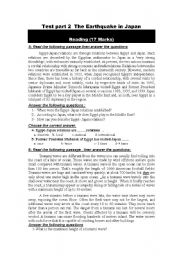 English Worksheet: Test  part 2 The Earthquake in Japan