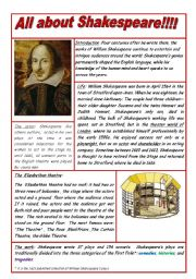 English Worksheet: All about Shakespeare
