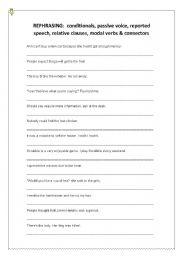 Passive voice rephrasing exercises pdf