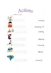 English Worksheets: Actions- matching activity