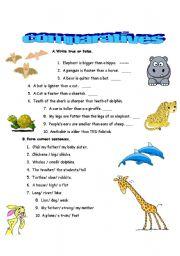 English Worksheet: Comparison with wild animals