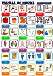 English Worksheet: PLURAL OF NOUNS (B&W + KEY included)