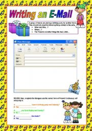 Creative Wriiting: e-mail to a pen pal #4 A1 Level worksheet ...