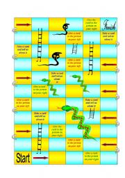 English Worksheet: Snake and Ladders (true or false storytelling game)