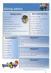 English Worksheet: Giving advice - Useful phrases and role play