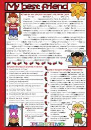 English Worksheet: My Best Friend*Reading ( SIMPLE PRESENT TENSE ) (B&W+KEY)