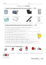 English worksheet: TEST on HOUSES