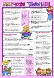 English Worksheet: MODAL VERBS Part-1 (B&W and KEY included )