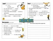 English Worksheets: conjunctions - and / but / because