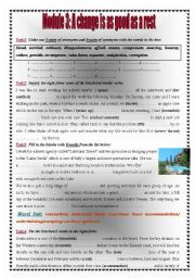 English Worksheets: Module 3: A change is as good as  a rest  3rd forms