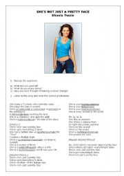 English Worksheet: Shania Twain - She�s Not Just  A Pretty Face