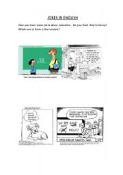 English Worksheets: Funny cartoons about school and ESL learning
