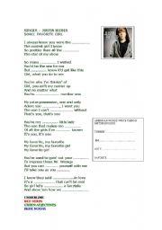 English Worksheets: JUSTIN BIEBER FAVORITE GIRL