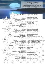 English Worksheet: Song Worksheet - Tears in Heaven by Eric Clapton