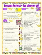 English Worksheet: For, since and yet