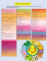 English Worksheet: Multiple Intelligences Song by Mr. thompson
