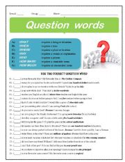 English Worksheets: Question Words in Practice no.01