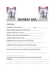 English Worksheets: Mama Mia Movie Sheet