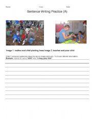 English Worksheets: 3 Level Sentence Writing Practice (ADEC)