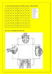 English Worksheet: Easter Box and Word Search