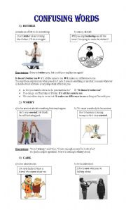 English Worksheets: Confusing words: Bother, Matter, Care, Mind, Worry