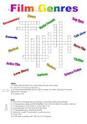 English Worksheet: Crossword on FILM GENRES