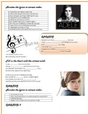 English Worksheets: Someone like you by ADELE
