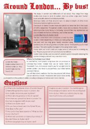 English Worksheets: AROUND LONDON... BY BUS! (Reading comprehension+writing)