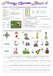 English Worksheet: Muzzy Comes Back 5  - 2 pages-5 exercises