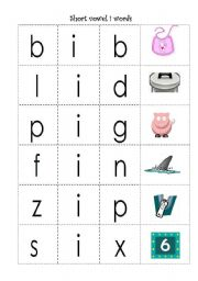 cvc words with short vowel i