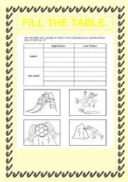 English Worksheets: fil the talbe