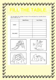 English worksheet: fil the talbe
