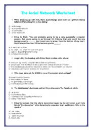 worksheet: The social network - movie